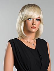 Недорогие -Человеческие волосы Парик Прямой Прямой силуэт Отбеливатель Blonde 12 дюйм