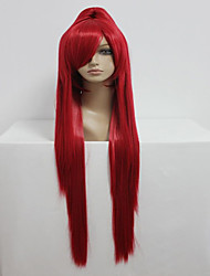 cheap -gurren lagann 100cm long straight ponytail red high quality synthetic cosplay party wig Halloween