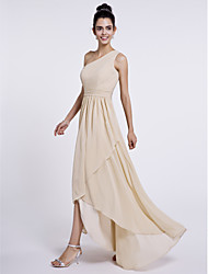 cheap -A-Line One Shoulder Asymmetrical Chiffon Bridesmaid Dress with Side Draping