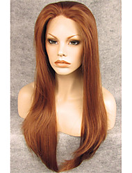 cheap -Synthetic Wig Straight Straight Lace Front Wig Auburn Synthetic Hair Brown