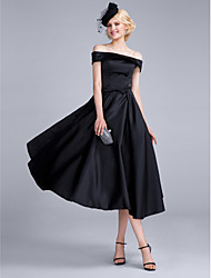 cheap -A-Line Off Shoulder Tea Length Polyester / Satin Chiffon Vintage Inspired Cocktail Party / Prom Dress with Bow(s) 2020