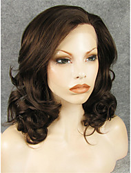 cheap -Synthetic Wig Wavy Wavy Lace Front Wig Brown Synthetic Hair Brown