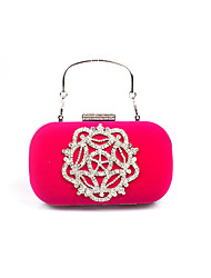 cheap -Women's Bags Velvet Evening Bag Crystal / Rhinestone Flower Solid Colored Wedding Party Event / Party Camel Black Purple Fuchsia