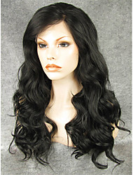cheap -Synthetic Lace Front Wig Wavy Kardashian Style Lace Front Wig Black Natural Black Synthetic Hair Women's Natural Hairline Black Wig