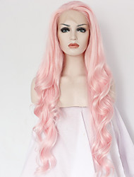cheap -Synthetic Lace Front Wig Body Wave Kardashian Style Lace Front Wig Pink Pink Synthetic Hair Women's Natural Hairline Middle Part Pink Wig Long / Yes