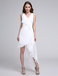cheap -A-Line V Neck Asymmetrical Chiffon Bridesmaid Dress with Pleats