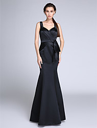 cheap -Mermaid / Trumpet Elegant Formal Evening Dress Straps Sleeveless Floor Length Satin with Side Draping 2020