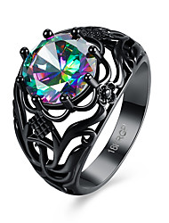 cheap -Women's Band Ring Cubic Zirconia Black Zircon Titanium Steel Ladies Personalized Fashion Party Engagement Jewelry Simulated Flower
