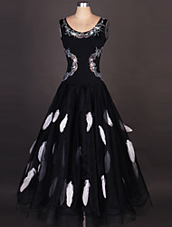 cheap -Ballroom Dance Dresses Women's Performance Spandex / Organza Draping / Crystals / Rhinestones / Paillette Sleeveless High Dress