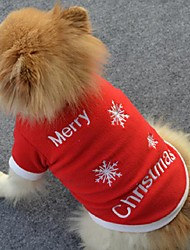 cheap -Dog Shirt / T-Shirt Dog Clothes Snowflake Red Polar Fleece Costume For Spring &  Fall Winter Men's Women's Christmas