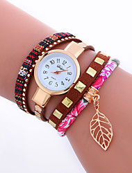 cheap -Women's Bracelet Watch Wrist Watch Quartz Quilted PU Leather Cool Punk Analog Ladies Charm Sparkle Leaves Vintage - Rose Red Blue