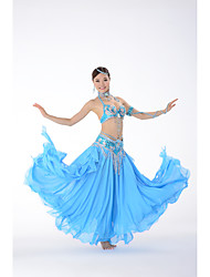 cheap -Belly Dance Outfits Women's Performance Polyester Beading / Paillette Sleeveless Dropped Bra / Hip Scarf