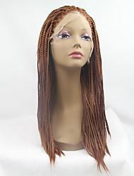 Недорогие -Парики из искусственных волос Прямой Прямой силуэт Лента спереди Парик Medium Auburn Искусственные волосы Жен. Природные волосы Парик с косичками Африканские косички Коричневый