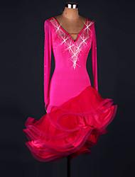 cheap -Latin Dance Dresses Women's Performance Spandex / Organza Ruffles / Crystals / Rhinestones Long Sleeve High Dress