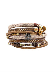 cheap -Women's Charm Bracelet Wrap Bracelet Leather Bracelet Personalized Vintage Bohemian Fashion Boho Leather Bracelet Jewelry Gray / Coffee / Blue For Anniversary Gift Daily Casual Office & Career