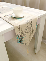 cheap -Square Floral Patterned Table Runner , Cotton Blend Material Hotel Dining Table Table Decoration