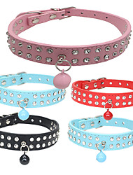 cheap -Cat Dog Collar Adjustable / Retractable Soft Strobe / Flashing Handmade With Bell Rhinestone Rock PU Leather Red Pink