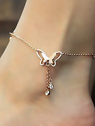 cheap -Women's Cubic Zirconia Anklet feet jewelry Butterfly Animal Ladies Luxury Fashion Cute 18K Gold Plated Rose Gold Titanium Steel Anklet Jewelry Golden For Wedding Daily / Imitation Diamond
