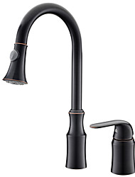 cheap -Kitchen faucet - Single Handle Two Holes Oil-rubbed Bronze Pull-out / ­Pull-down Widespread Antique Kitchen Taps