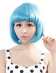 cheap -neitsi 100 kanekalon fiber 14 35cm 160g pc women s girl s cosplay short synthetic bob hair wigs light blue Halloween