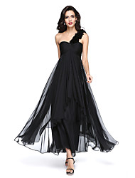 cheap -A-Line One Shoulder Ankle Length Chiffon Little Black Dress Formal Evening Dress with Ruched / Flower / Pleats 2020