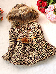 cheap -Toddler Girls' Animal Print Daily Leopard Long Sleeve Regular Down & Cotton Padded Camel
