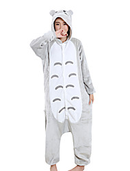 cheap -Adults' Kigurumi Pajamas Anime Cat Onesie Pajamas Velvet Mink Gray Cosplay For Men and Women Animal Sleepwear Cartoon Festival / Holiday Costumes
