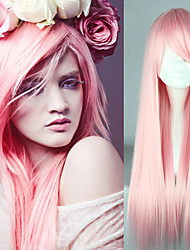 cheap -Synthetic Wig Cosplay Wig Straight Straight Wig Pink Pink Synthetic Hair Women's Heat Resistant Pink