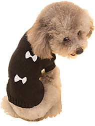 cheap -Dog Sweater Bowknot Keep Warm Winter Dog Clothes Black / White Black Costume Acrylic Fibers S