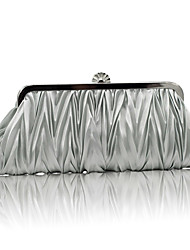 cheap -Women's Ruffles Satin Evening Bag Solid Colored Black / Purple / Silver