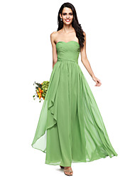 cheap -A-Line Sweetheart Neckline Floor Length Chiffon Bridesmaid Dress with Criss Cross / Ruched / Open Back