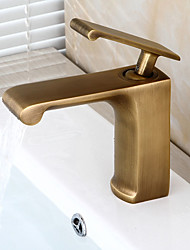cheap -Bathroom Sink Faucet - Pre Rinse / Waterfall / Widespread Antique Copper Centerset Single Handle One HoleBath Taps