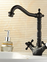 cheap -Bathroom Sink Faucet - Rotatable / FaucetSet Oil-rubbed Bronze Deck Mounted One Hole / Two Handles One HoleBath Taps