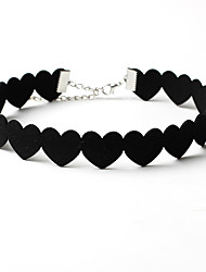 cheap -Women's Choker Necklace Love European Fashion Euramerican Flannelette Black Necklace Jewelry For Wedding Party Daily Casual Valentine