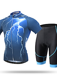 cheap -XINTOWN Men's Short Sleeve Cycling Jersey with Shorts Black Bike Shorts Pants / Trousers Jersey Breathable 3D Pad Quick Dry Ultraviolet Resistant Reflective Strips Sports Spandex Coolmax® Mesh