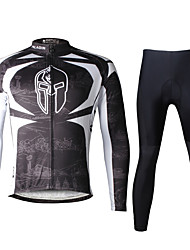 cheap -ILPALADINO Men's Long Sleeve Cycling Jersey with Tights Winter Lycra Polyester Black Bike Clothing Suit Breathable 3D Pad Quick Dry Ultraviolet Resistant Reflective Strips Sports Fashion Mountain