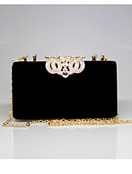 cheap -Women's Bags Velvet Evening Bag Crystal / Rhinestone Solid Colored Wedding Party Event / Party Camel Wine Black Purple
