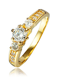 cheap -Women's Ring AAA Cubic Zirconia Gold Golden 2 18K Gold Plated Gold Plated Ladies Wedding Party Jewelry Solitaire Cluster Simulated