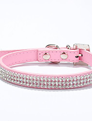 cheap -Cat Dog Collar Adjustable / Retractable Handmade Heart Mosaic Rhinestone PU Leather Red Blue Pink
