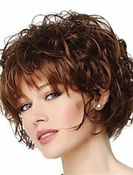 cheap -Synthetic Wig Curly Curly Pixie Cut With Bangs Wig Short Brown Synthetic Hair Women's Heat Resistant Brown