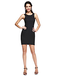 cheap -Sheath / Column Little Black Dress Cocktail Party Prom Dress Jewel Neck Sleeveless Short / Mini Lace Stretch Satin with Lace 2020