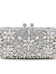 cheap -Women's Crystal / Rhinestone Metal Evening Bag Wedding Bags Floral Print Black / Gold / Silver