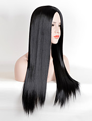 cheap -fashion wig long straight black centre parting heat resistant synthetic wigs high quality cheap wigs for black women daily wearing