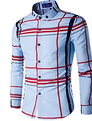 cheap -Men's Plaid Slim Shirt Business Daily Work Button Down Collar White / Navy Blue / Spring / Fall / Long Sleeve