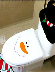 cheap -3Pcs/Set Santa Ornament Snowman Toilet Seat Cover Rug Bathroom Mat Set Christmas Xmas Decoration For Home