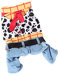 cheap -Dog Costume Jumpsuit Winter Dog Clothes Warm Rainbow Costume Cotton Jeans Cowboy Fashion S M L