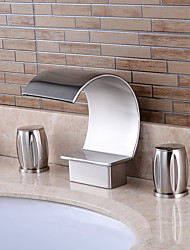 cheap -Bathroom Sink Faucet - Waterfall Nickel Brushed Widespread Two Handles Three HolesBath Taps