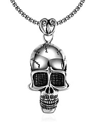 cheap -Men's Pendant Necklace Mexican Sugar Skull Skull Personalized Unique Design Dangling Punk Stainless Steel Silver Necklace Jewelry For Halloween Daily