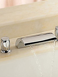 cheap -Country Widespread Waterfall Ceramic Valve Two Handles Three Holes Chrome, Bathroom Sink Faucet