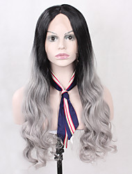 cheap -Synthetic Wig Body Wave Body Wave Lace Front Wig Black / Grey Synthetic Hair Women's Natural Hairline Black